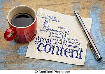 contenu, concept, wrting, grand