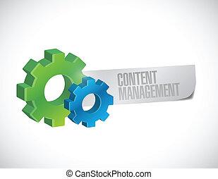 contenu, gestion, engrenage, illustration, signe