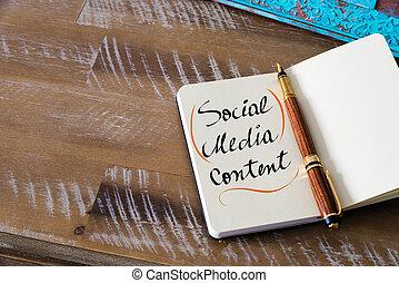 contenu, média, social, manuscrit, texte