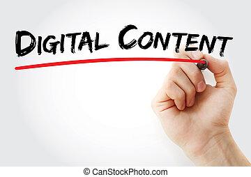 contenu, marqueur, numérique, écriture main