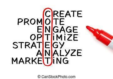 contenu, mots croisés, concept, marqueur
