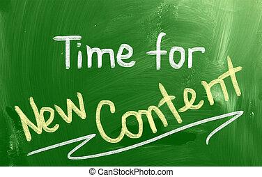 contenu, nouveau, concept, temps