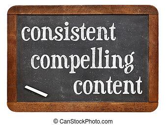 contenu, obliger, consistent