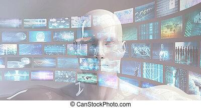 contenu, ruisseler, multimédia