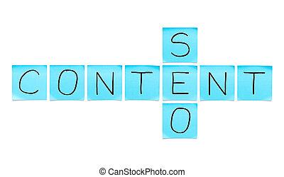 contenu, seo, notes, bleu, collant