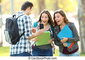 contenu, téléphone, projection, amis, étudiant