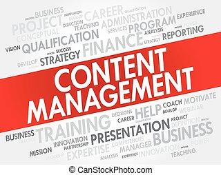 contenuto, amministrazione, parola, nuvola, collage