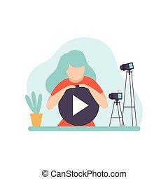 contenuto, donna, creare, concetto, blogger, giovane, illustrazione, vettore, video, stella filante, femmina, linea, canale