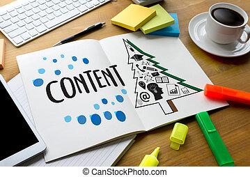 contenuto, marketing, contenuto, dati, blogging, media,...