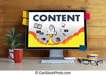 contenuto, marketing, dati, blogging, media, pubblicazione,...