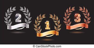 Contest Awards Emblems Realistic Set