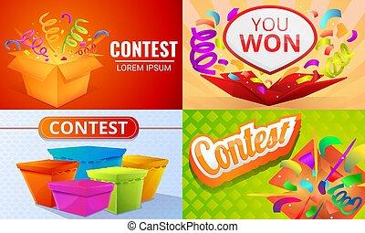 Contest banner set, cartoon style