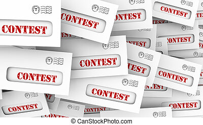 Contest Raffle Drawing Win Prize Envelope Pile 3d Illustration