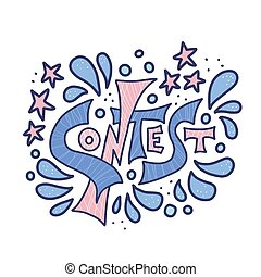 Contest text. Hand drawn word. Vector illustration.
