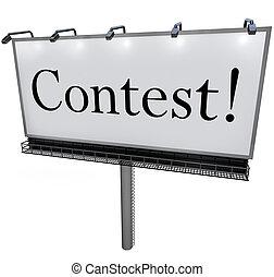 Contest Word on Billboard Raffle Drawing Lottery