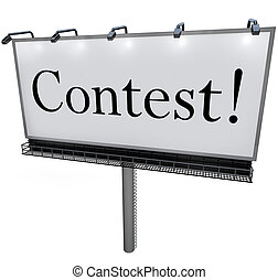 Contest Word on Billboard Raffle Drawing Lottery - The word...
