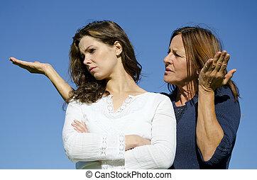 contester, argument, fille, famille, mère