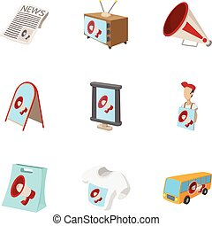 Contextual advertising icons set, cartoon style - Contextual...