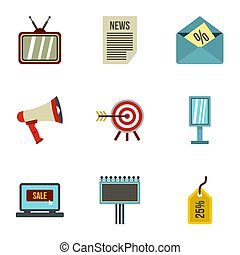 Contextual advertising icons set, flat style - Contextual...