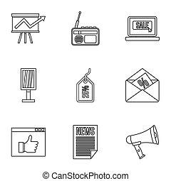 Contextual advertising icons set, outline style - Contextual...