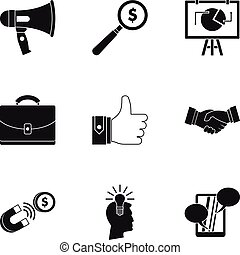 Contextual advertising icons set, simple style - Contextual...