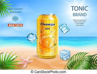 contido, laranja, anunciando, sabor, oceânicos, praia, bebida, metal, macio, lata, tropicais, amarela