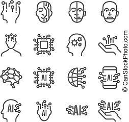 contient, traitement, technologie, icônes, intelligence, set., expansé, robotique, artificiel, machine, ai, coup, androïde, cerveau, apprentissage, tel, more., icône