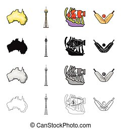 Continent Australia, Sydney tower, coral fish, cricket game. Australia set collection icons in cartoon black monochrome outline style vector symbol stock illustration web.