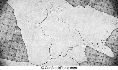 continentaal, concept, drift, animatie