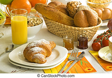 continental breakfast on the table close up shoot