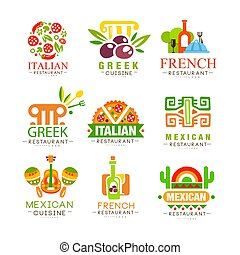 Continental cuisine logo design set, Italian, Greek, French, Japanese, Mexican authentic traditional continental food labels vector Illustrations