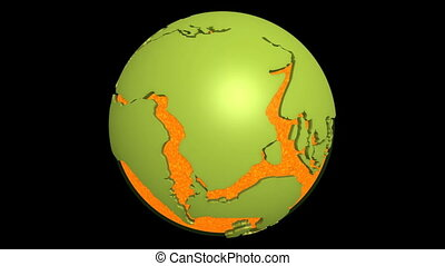 Globe with super continent Pangea and magma