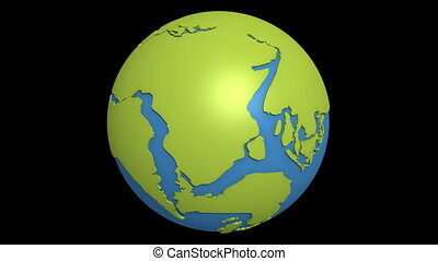 continental drift pacific - Globe with super continent...