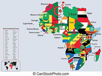 continental, mapa, áfrica, bandeiras, país