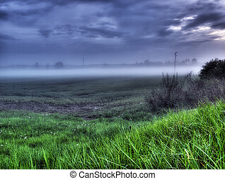 Scene of the evening mist somewhere on the continent in Europe