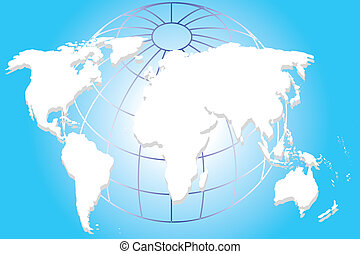 Continental of World Map on Blue Ar