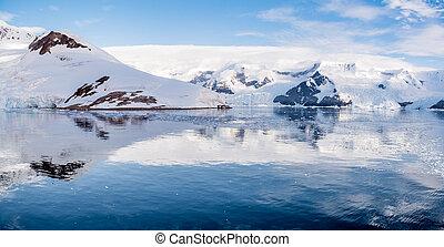 continente, barracas, porto, panorama, acampamento, enseada, lester, arctowski, local, vermelho, geleiras, neko, antártica, península