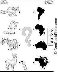 continenti, fiammifero, animali, compito, colorare, libro