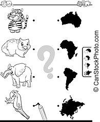 continenti, fiammifero, gioco, animali, libro colorante