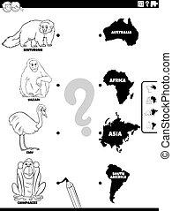 continents, allumette, animaux colorent, page, livre