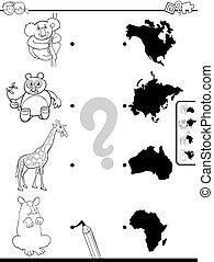 continents, allumette, jeu, animaux colorent, livre