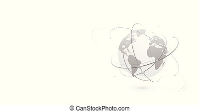 continents, bannière, mondiale, gauche, conception, global, side., fond, données, copie, carte, connexion, lignes, globe, point., vecteur, planète, numérique, points, réseau, plat, concept, espace, style, technologie