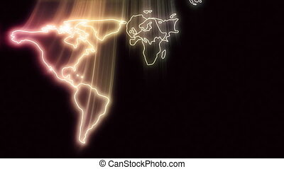 Outline shapes depicting the five continents glide down in to the center of the screen, coming together to form a radiant map of the world before gliding further forward and out.