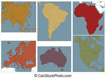 Continents illustration with differents colours.