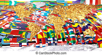 continents - Continents with national flags