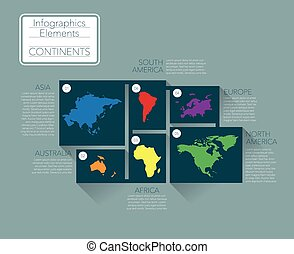 Continents - Earth continents, infographics elements. Vector