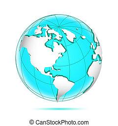 continents., globo, convexo