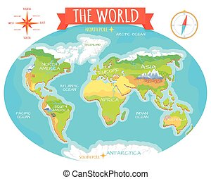Planet earth and animals beast on continents world map continents oceans on map of world our planet gumiabroncs Gallery