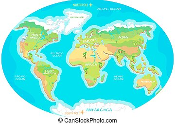 Planet earth and animals beast on continents world map continents oceans on map of world our planet gumiabroncs Image collections