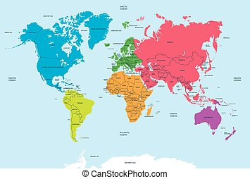 Continents of the World and political Map